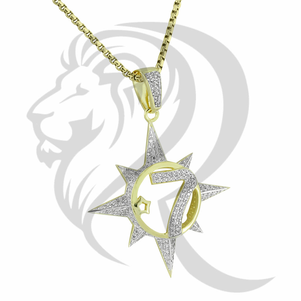 Hiphop Custom Jay Z 5 Percenter 7 Star IcedOut Pendant