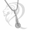 White Gold Finish IcedOut Rappers Mic Music Pendant