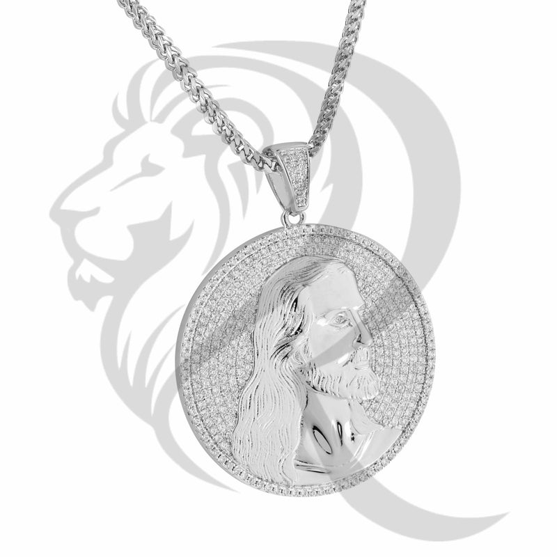 White Gold Tone IcedOut Jesus Face Medallion Pendant