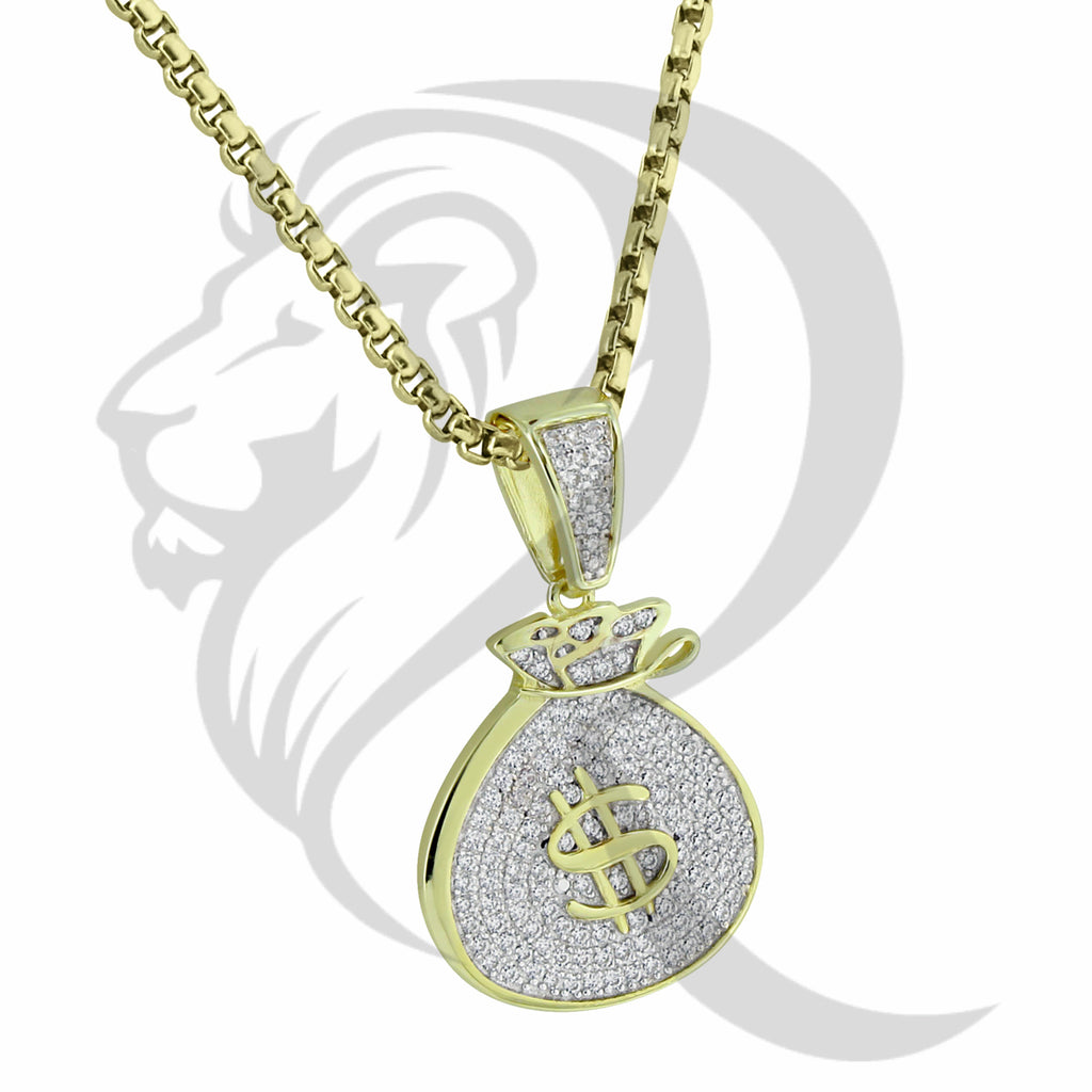 Yellow Gold Tone Dollar Sign IcedOut Money Bag Pendant