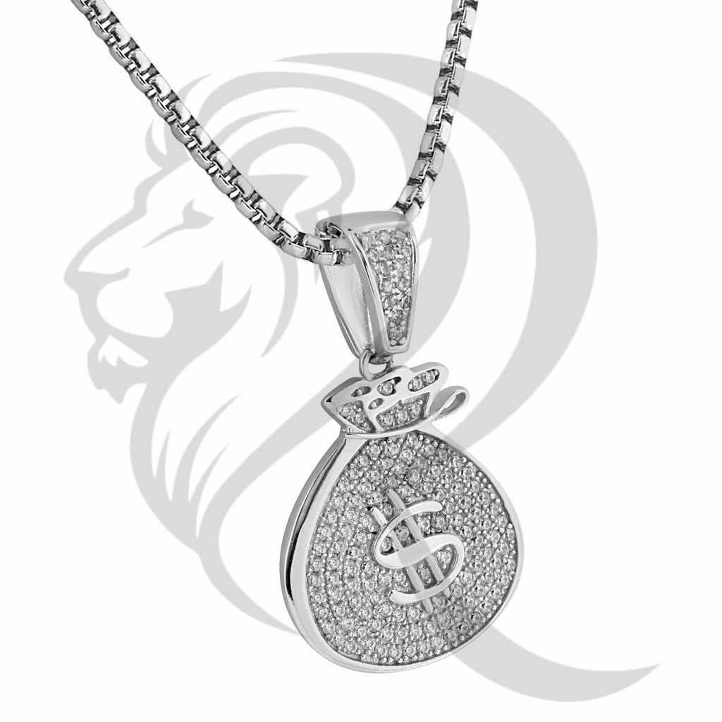 White Gold Finish IcedOut Dollar Sign Money Bag Pendant