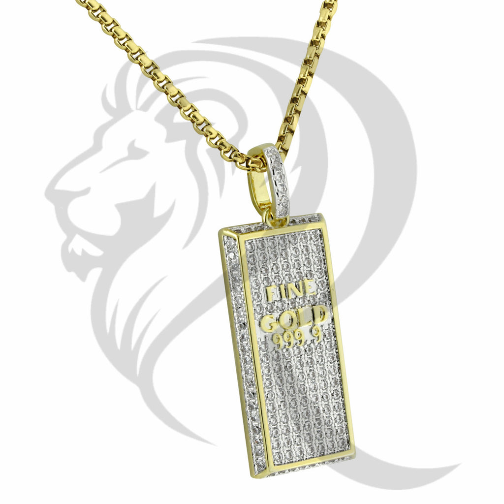 Yellow IcedOut Fine Gold Bar Fashion Hiphop Pendant
