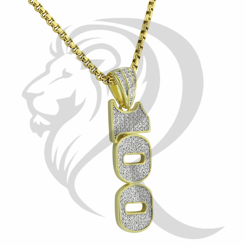 Yellow Gold Finish IcedOut 100 Emoji Fashion Pendant