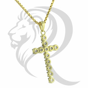 Yellow Gold Finish Prong Set Solitaire IcedOut Cross Pendant