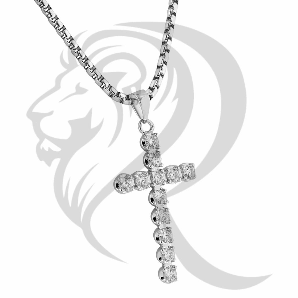 Prong Set Solitaire IcedOut Christian Cross Pendant