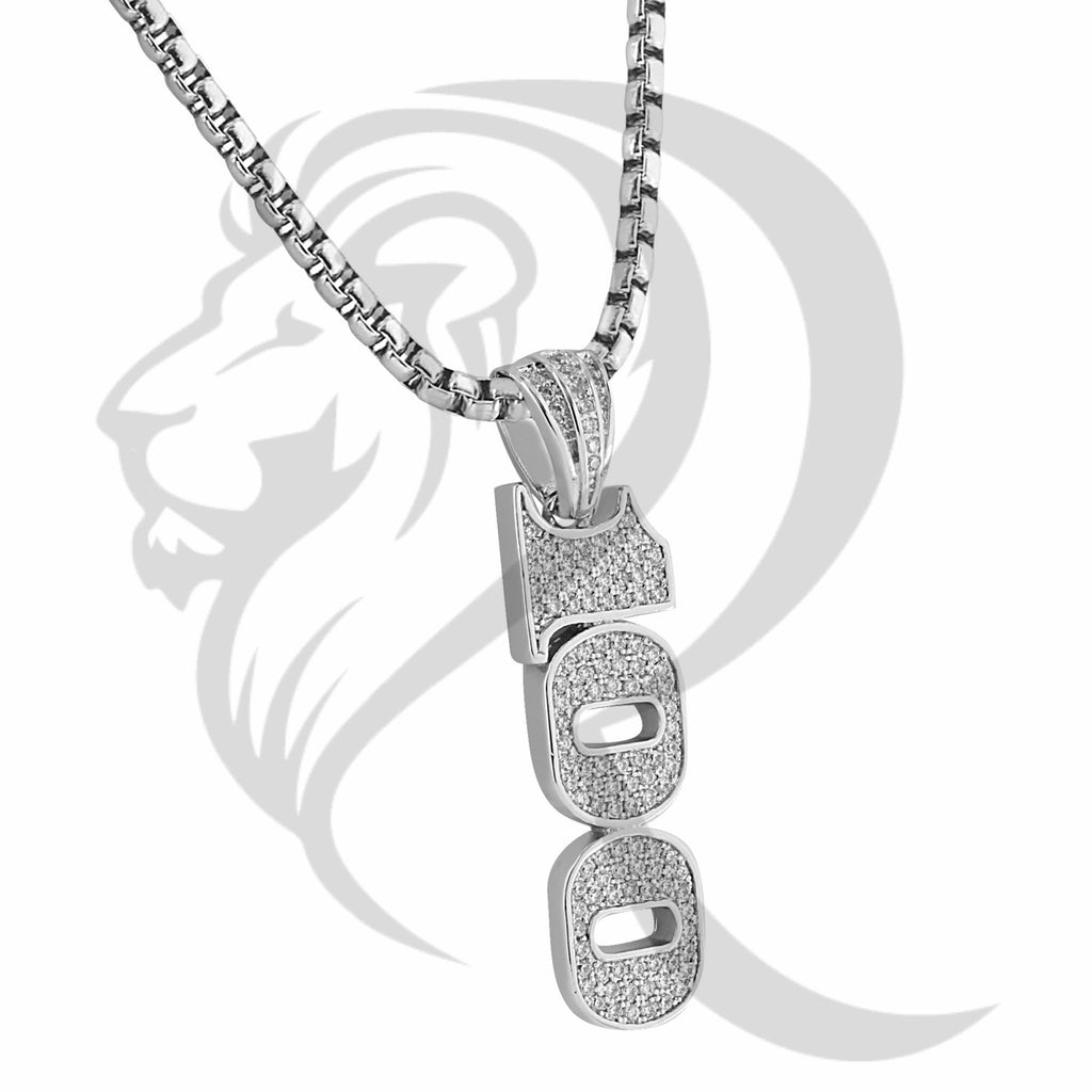 White Gold Finish IcedOut 100 Emoji Hiphop Pendant