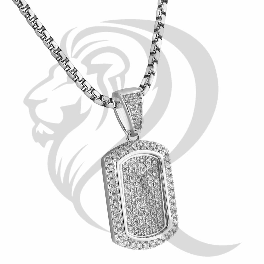 White Gold Finish IcedOut Dogtag Hiphop Pendant