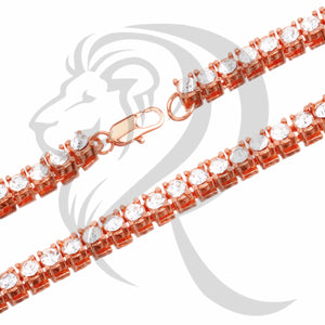 "5MM 16""-24"" Rose Tone Solitaire IcedOut 1 Row Tennis link Chain"