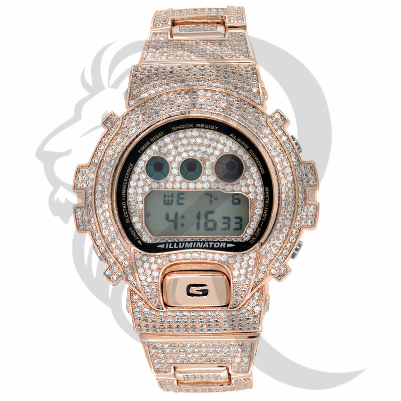 DW6900 Rose Tone All IcedOut G-Shock Custom Watch