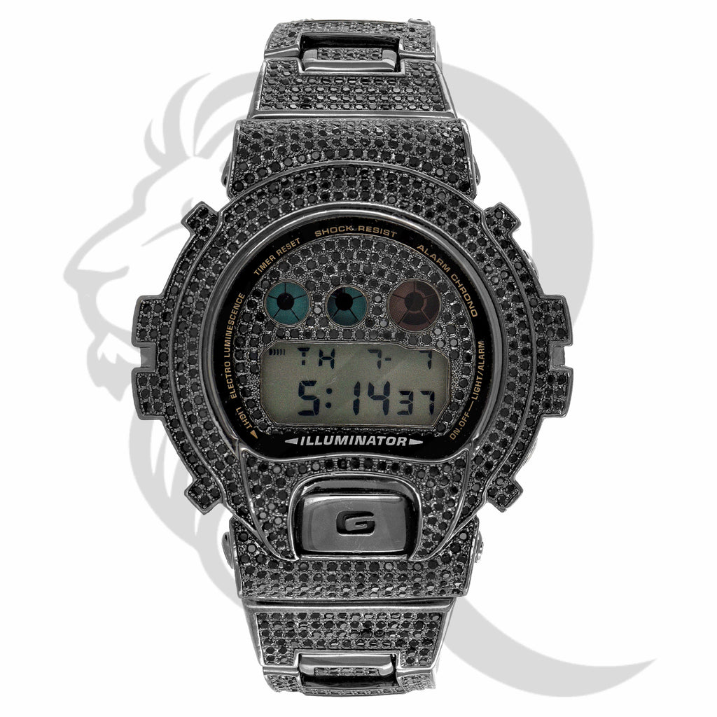 Black Simulated Diamonds DW6900 IcedOut G-Shock Watch