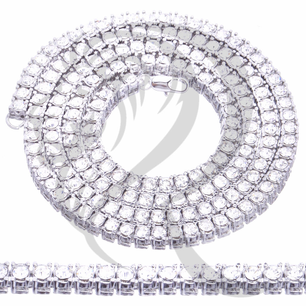 "5MM 16""-24"" One Row White Tone IcedOut Tennis Link Chain"