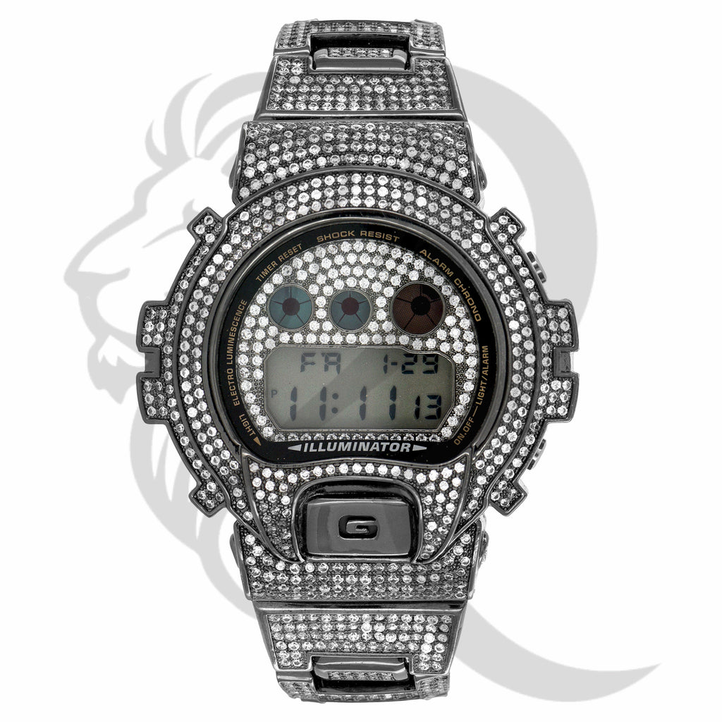 Black Tone Clear Simulated Diamonds DW6900 G-Shock Watch