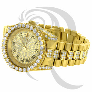 40MM All Stainless Steel Solitaire Bezel Icedout Presidential Watch