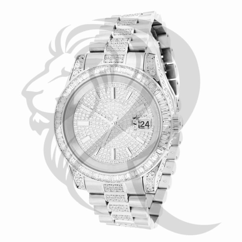 40MM Baguette IcedOut Stainless Steel Presidential Custom Watch
