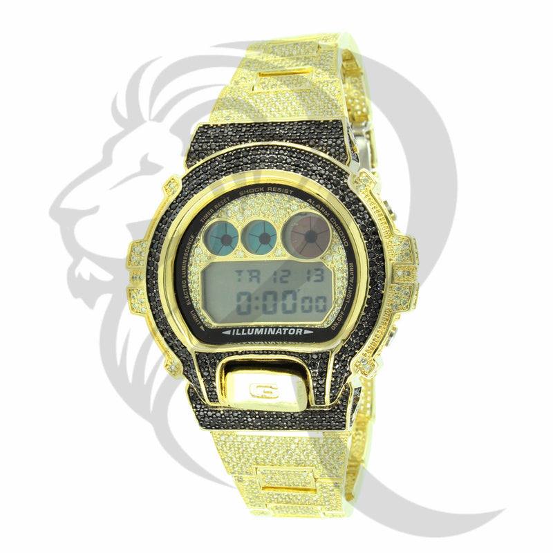 Black & Canary IcedOut DW6900 Custom G-SHock Watch