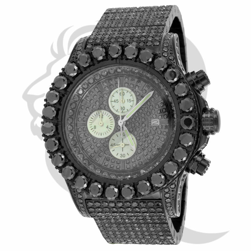 48MM Black Tone IcedOut Solitaire Stainless Steel Chronograph Watch