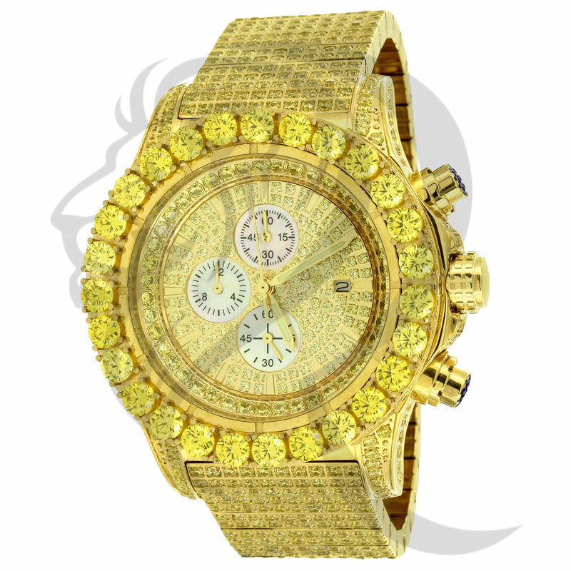 48MM Canary Stainless Steel IcedOut Solitaire Chronograph Watch