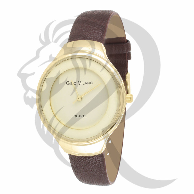 37MM Yellow Dial Brown Leather Band Women's Watch