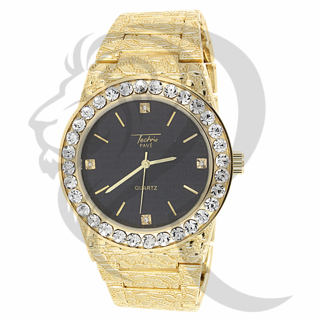 44MM Round Face Solitaire Bezel Plain Nugget Band Watch