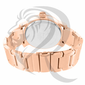 Rose Gold Plain 49MM Side Compass Watch