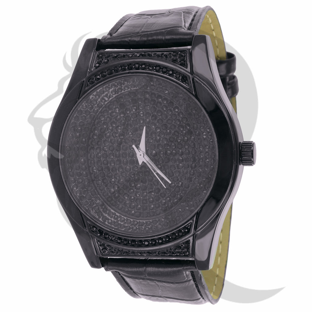 49MM Black IcedOut Face Black Leather Band Watch