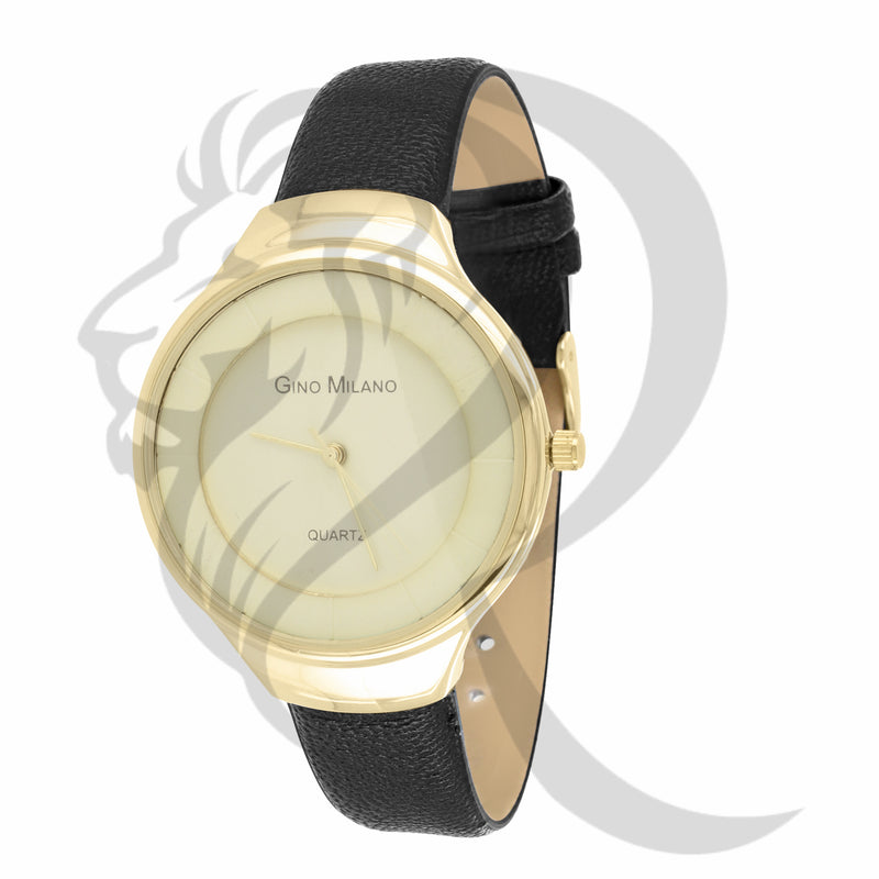 37MM Plain Yellow Face Black Leather Band Gino Milano Watch
