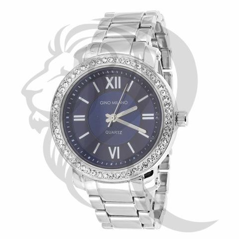 Blue Dial 38MM White Tone Watch