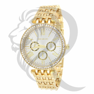 gino milano watch, ladies watch, yellow gold watch, 14k gold, icedout watch
