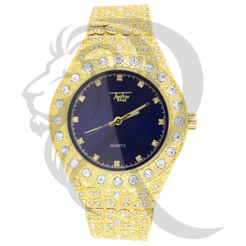 nugget watch, techno pave watch, techno pave, idecout, yellow gold