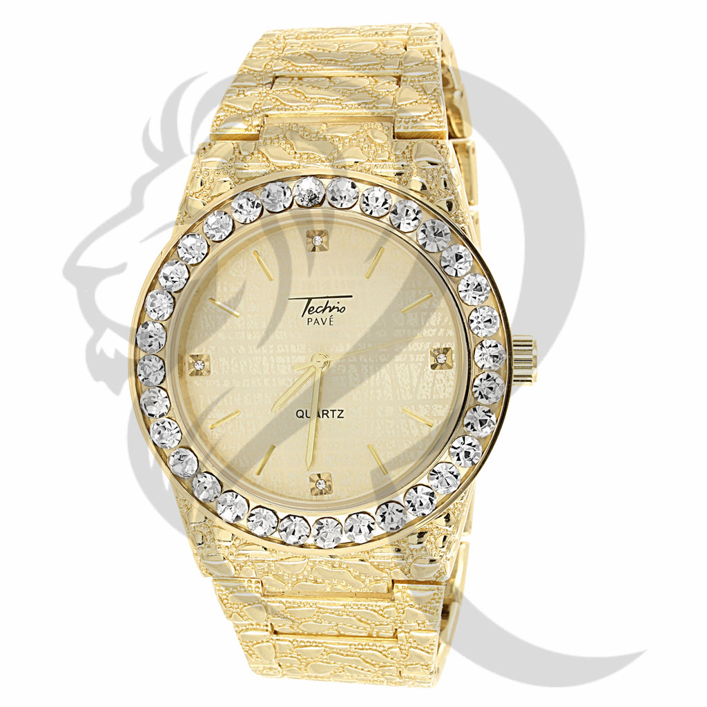 Yellow Tone 44MM Solitaire Bezel Nugget Style Plain Metal Watch