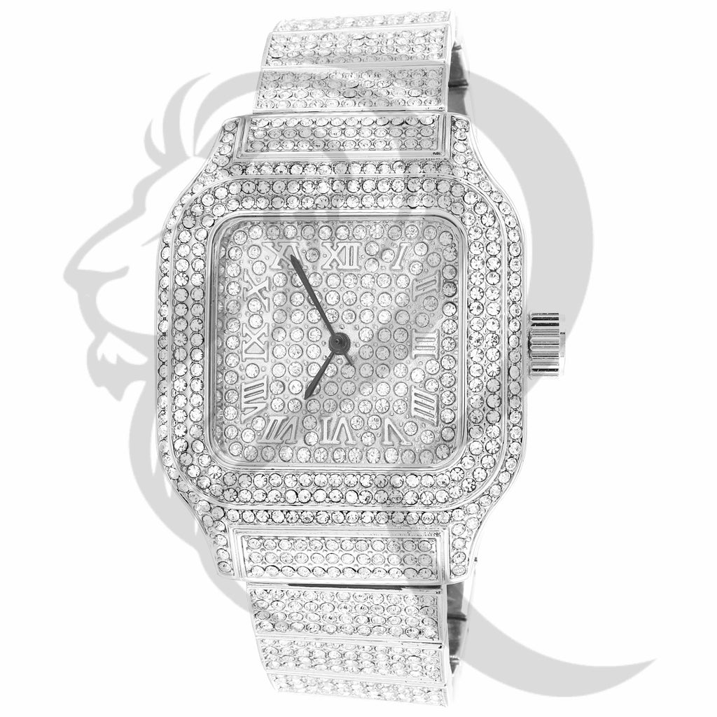 40MM Square Face Luxury IcedOut Techno Pave Metal Watch