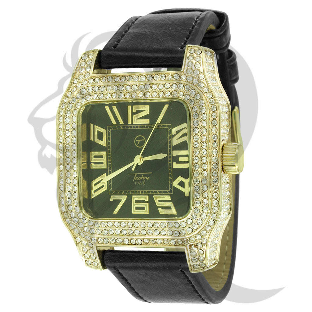 46MM Square Yellow IcedOut Face Leather Band Watch