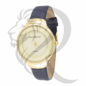 37MM Blue Leather Band Plain Women's Gino Milano Watch