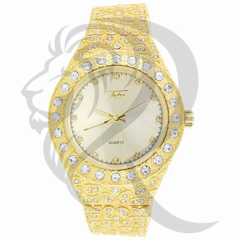 43MM White Face IdecOut Yellow Tone Nugget Watch