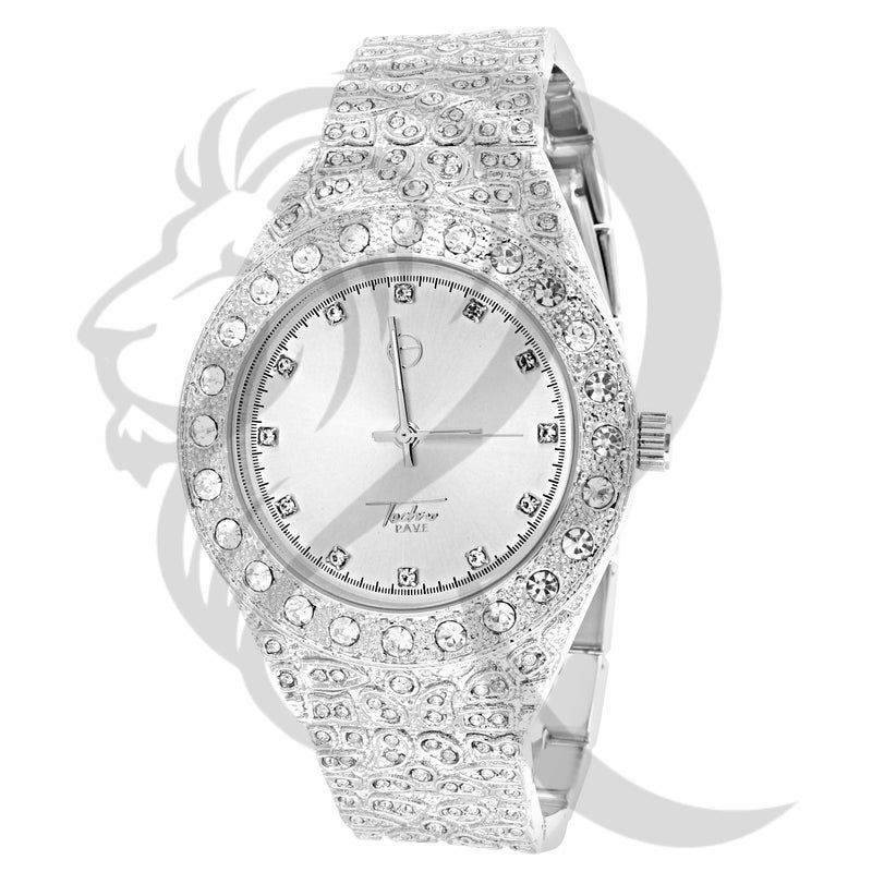 All White Nugget Style 43MM IcedOut Watch