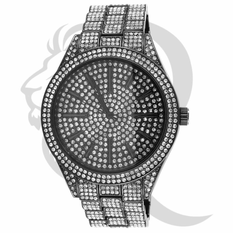 43MM Black & White Round Face IcedOut Men's Fashion Watch