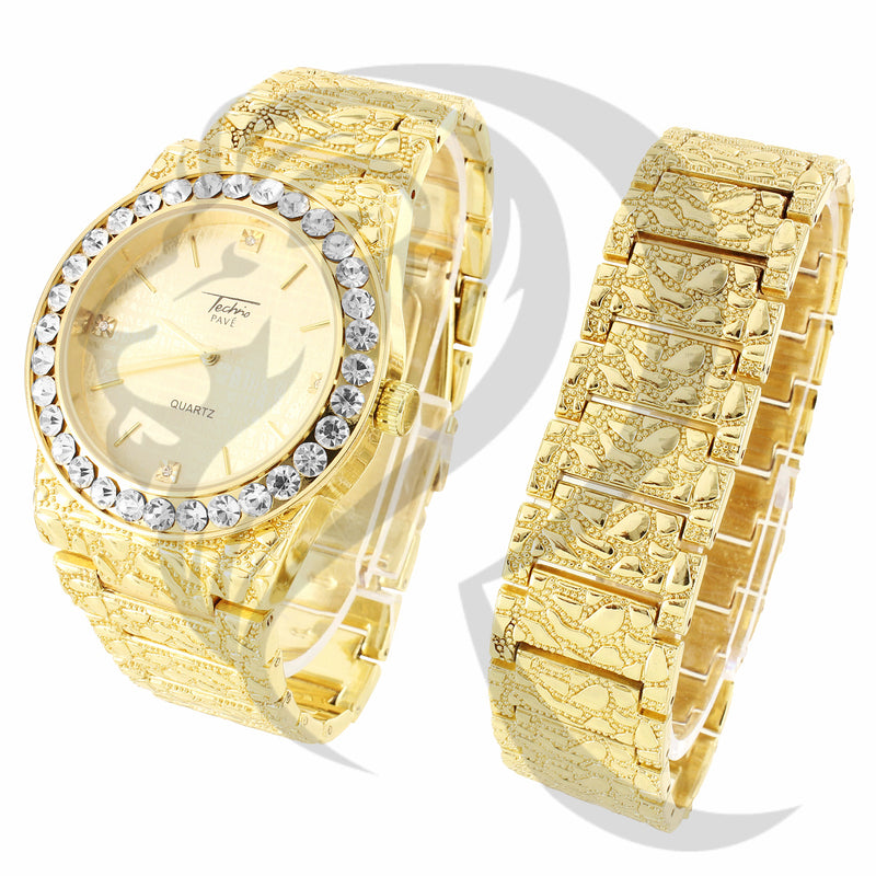 44MM Round Solitaire Face Nugget Style Watch Bracelet Gift Set