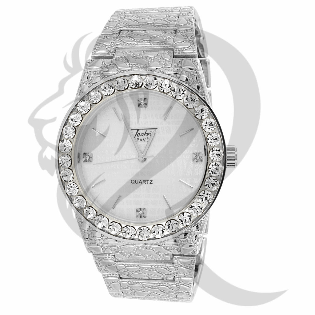 44MM Plain White Dial Techno Pave Nugget Men's Watch