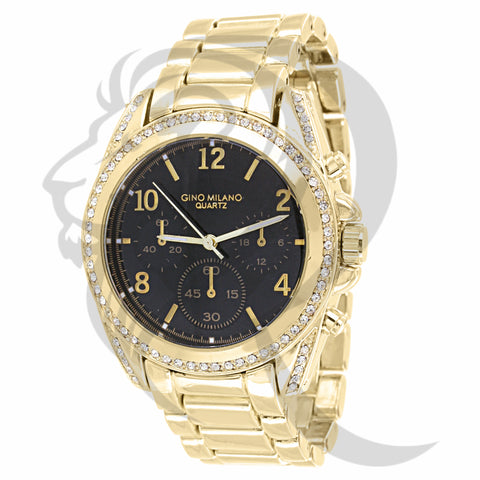 39MM Black Dial Yellow Tone Milano Watch