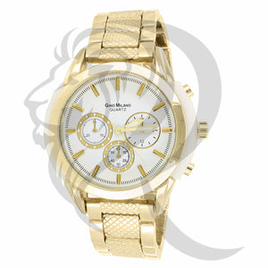 White Dial Yellow Tone 47MM Men's Watch