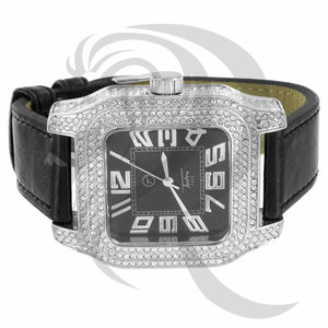 White & Black IcedOut Square Face Leather Band Watch