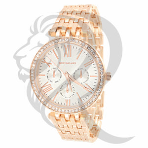 Rose Gold Solitaire Bezel Watch