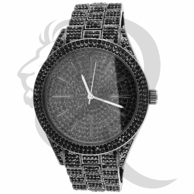 43MM Round Face All Black IcedOut Men's Techno Pave Watch
