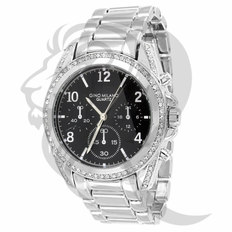 White Gold Finish 39MM IcedOut Bezel Watch