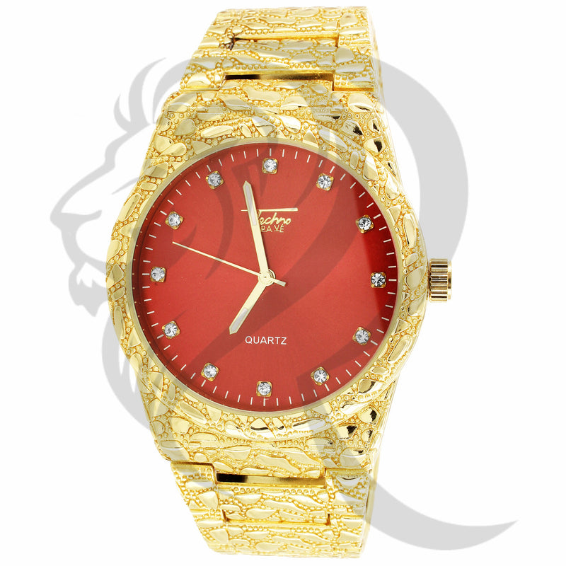 43MM Red Dial Round Face Nugget Style Metal Band Watch