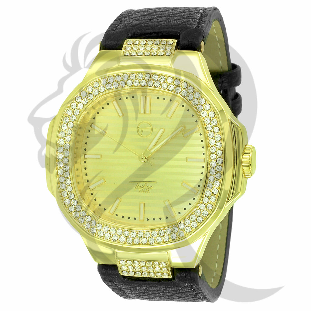 46MM Yellow IcedOut Face Black Leather Band Watch