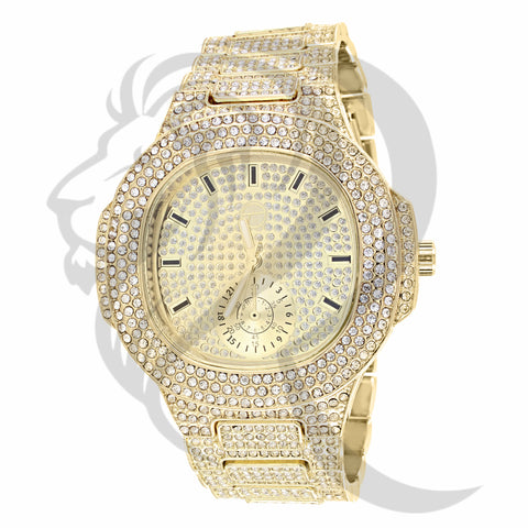 51MM Yellow IcedOut Techno Pave Watch