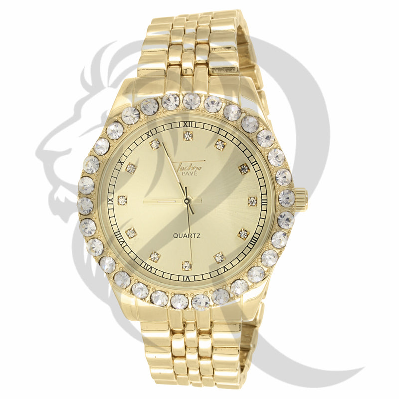 44MM Solitaire Bezel Presidential Plain Yellow Metal Watch