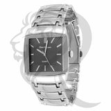 35MM Plain White Gold Black Dial Watch