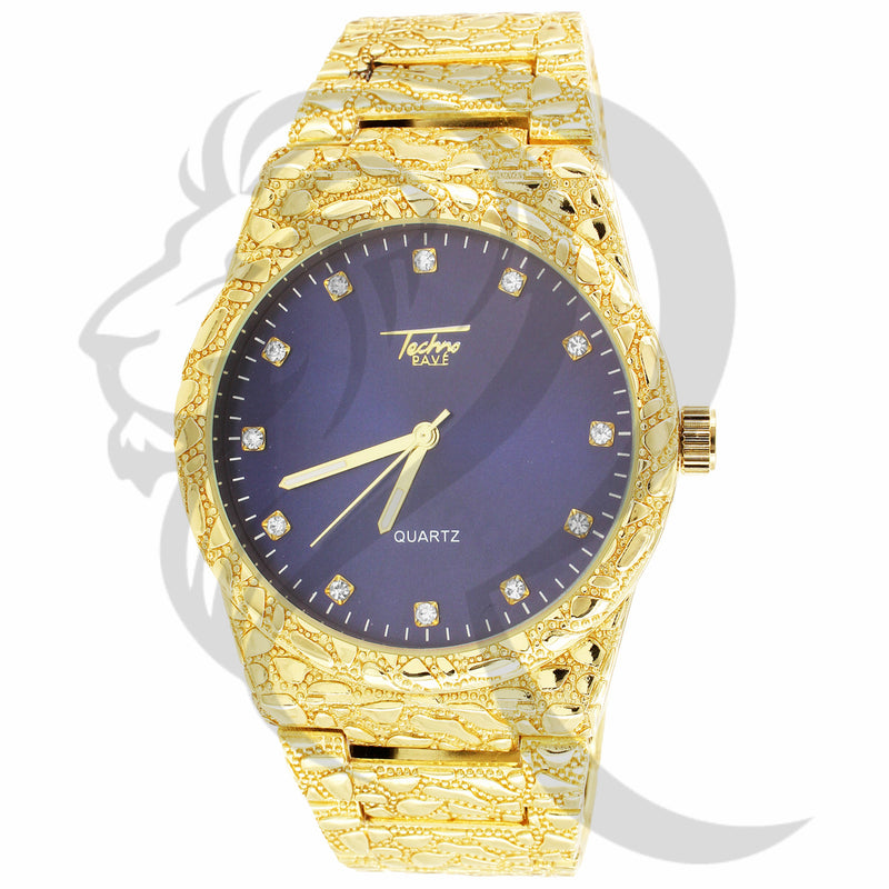 43MM Blue Dial Techno Pave Nugget Style Metal Band Watch